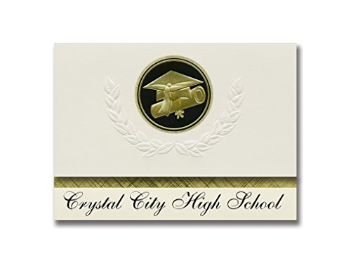 Signature Announcements Crystal City High School (Crystal City, MO) Graduation Announcements, Presidential style, Elite package of 25 Cap & Diploma Seal. Black & Gold. (Crystal City High School Crystal City Mo)