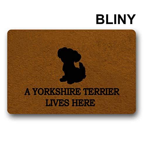 BLINY Funny Doormat Entrance Mat-A Yorkshire Terrier Lives HERE-Indoor Outdoor Decoration Door Mat