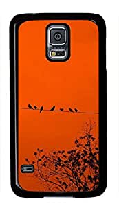 Birds On The Wire Theme Case for Samsung Galaxy S5 i9600 PC Material Black