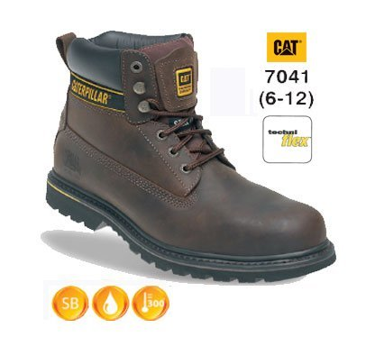 - CATERPILLAR CATHOLTBR10 UK 10 Euro 44 Holten Leather Goodyear Welted Safety Boot - Brown by Caterpillar