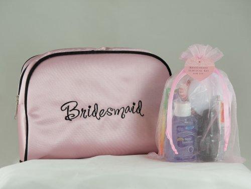 Bridesmaid Gifts Wedding Day Survival Kit in Pink Satin Bridesmaid Travel Bag