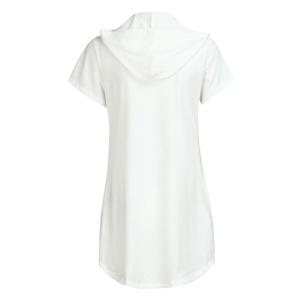 Women Dresses with Pockets Clearance Hosamtel Hooded Bandage Lace Up V-Neck Short Sleeve Summer Casual Midi T-Shirt Dress