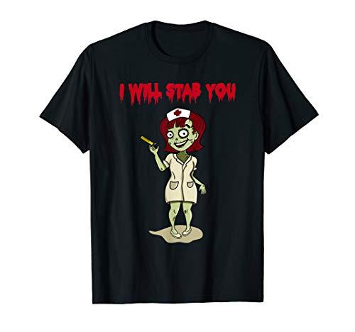 I Will Stab You Sarcastic Zombie Nurse Halloween Tshirt -