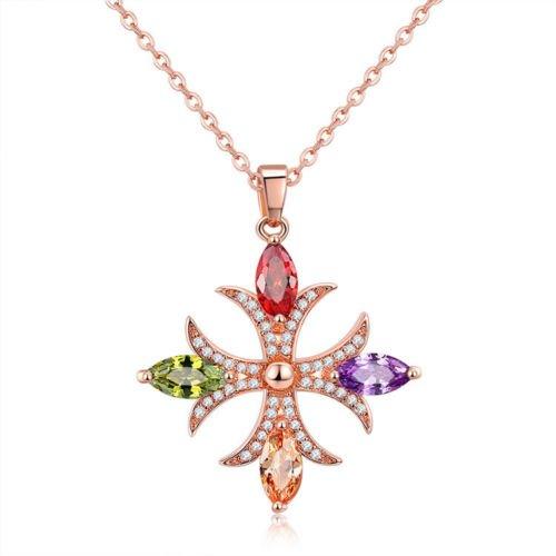 (Khongkwan Cross Style Natural Amethyst Peridot Garnet Rose Gold Plated Necklace Pendants by GIFTWEDDINGJEWELRYSHOP )