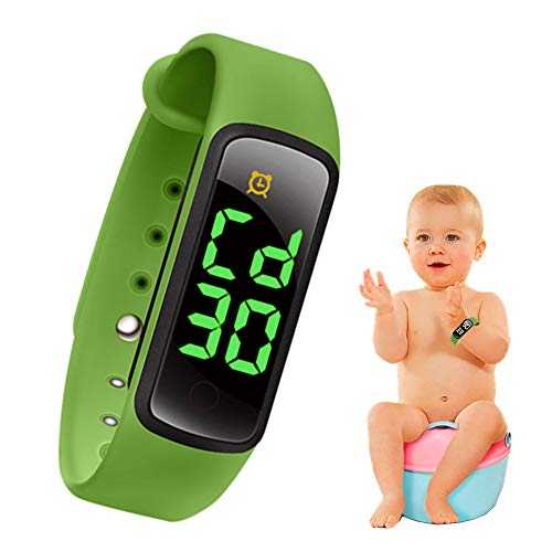bopopo Potty Training Watch - Baby Reminder Water Resistant Timer - Potty Trainer for Girls & Boys - Kids & Toddler Training Toilet Watches - LED Screen,9 Songs Loops(Green)