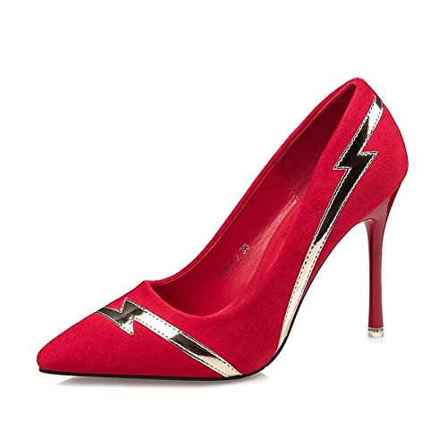 Similpelle Primavera DIMAOL per Rosso Caduta di Grigio in Heel Nero Punta Vestire Stiletto Comfort Tacchi Rosso Scarpe Donna di Kaki da q86xw8Ir