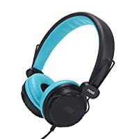 Kids Headphones with Microphone On-Ear Headset Made for iPhone, iPod, iPad, Samsung, HTC, LG and More (NT-H3 Teal Black)