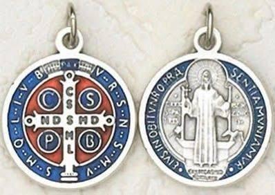 Saint Benedict Medal 2 cm diameter. Round St. Benedict Medal. Blue and Red St Benedict Medal. St Benedict Pendant. St Benedict Cross. Saint Benedict Crucifix.
