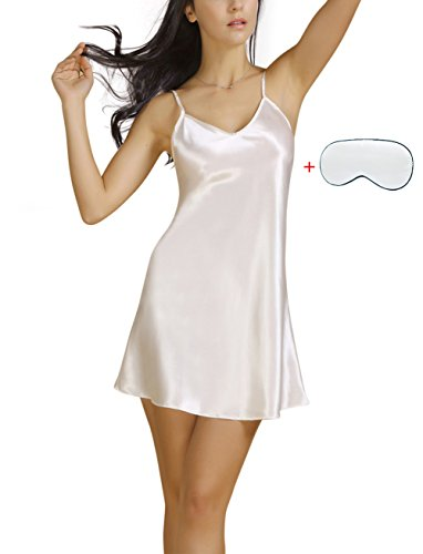 Notte delle Raso Donna a S da Semplice Pigiameria Bel da Taglie Avril Donne Camicia Bianco XXXL IUFAnwHx