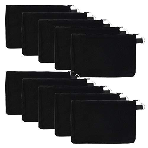 - baotongle 10 PCS Multi-Purpose Cotton Canvas Zipper Invoice Bill Bag Pen Pencil Cosmetic Makeup Bag Pouch Blank DIY Craft Bag Zipper (Black Color with Black Zipper, 9 x 5)