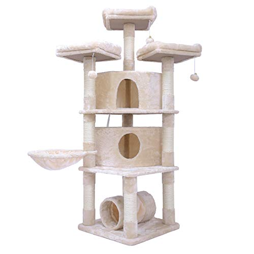 Hey-bro 65 inches Extra Large Multi-Level Cat Tree Condo Furniture with Sisal-Covered Scratching Posts, 2 Bigger Plush Condos, Perch Hammock for Kittens, Cats and Pets, Beige MPJ030M ()