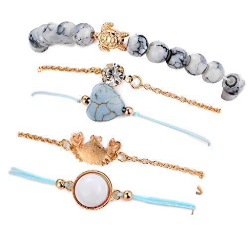 (❤Ywoow❤❤️ Turquoise Bracelet, 5 Pcs Set Bracelet Fashion Crab Turtle Natural Stone Heart Shape Bracelet)