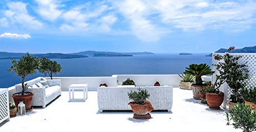 Home Comforts Peel-n-Stick Poster of Sea View South Terrace Santorini Greece Sea Sun Vivid Imagery Poster 24 x 16 Adhesive Sticker Poster Print