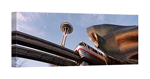 Easy Art Prints Panoramic Images's 'Low Angle View of The Monorail and Space Needle, Seattle, Washington State' Canvas Art 24 x -