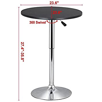 Topeakmart Round Pub Table Bar Height MDF Top Adjustable 360 Swivel Bar Tables Tall Cocktail Tables Bistro Table