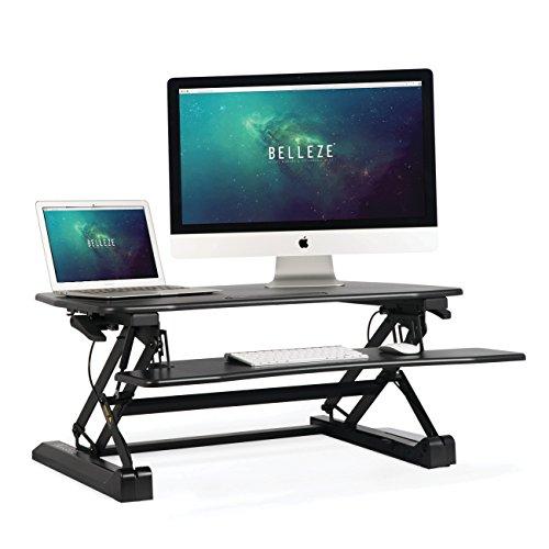 BELLEZE Stand up Desk Riser Converter Gas Spring Desktop Computer Adjustable Standing Dual Monitor Keyboard Tray, 35 ()