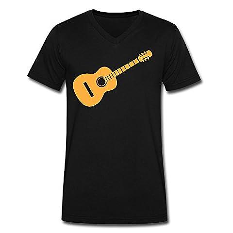 Men's Guitar V Neck T Shirt Black (Raiders Guitar Picks)