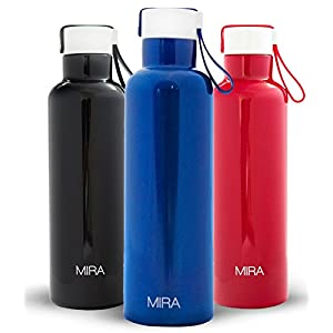 MIRA Vacuum Insulated Travel Water Bottle | Leak-proof Double Walled Stainless Steel Sports Water Bottle | Easy Carry Handle Strap Lid | No Sweating, Keeps Drink Hot & Cold | 17 Oz (500 ml) | Blue