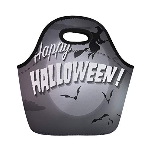 Tinmun Lunch Tote Bag 1950S Movie Ending Screen Happy Halloween Haunted 1930S Hollywood Reusable Neoprene Bags Insulated Thermal Picnic Handbag for Women Men -