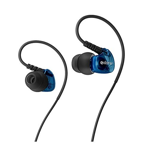 Adorer Sport Earphones, AD1 Wired In-Ear Headphones with Microphone, Noise Isolating, Memory Wire for iPhone, iPad, Samsung and more - Blue