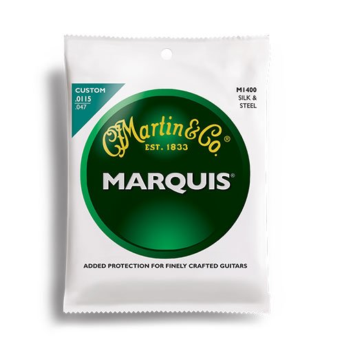 Martin M1400 Marquis Silk & Steel Folk Acoustic Strings, - Strings Folk Steel Guitar