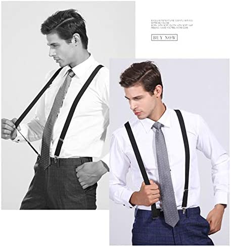 Mens Suspenders 1 Inch Elastic Adjustable Y-Back Clip-on Suspender