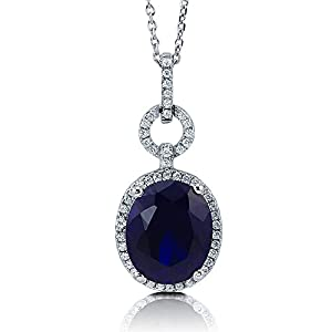 BERRICLE Rhodium Plated Sterling Silver Simulated Blue Sapphire Oval Cut Cubic Zirconia CZ Halo Anniversary Wedding Pendant Necklace