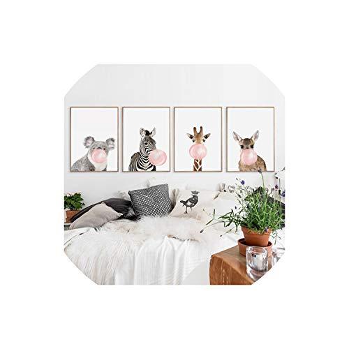 - Bubble Chewing Gum Giraffe Zebra Animal Posters Canvas Art Painting Wall Art Nursery Decorative Picture Nordic Style Kids Deco,30x45cm No Frame,4pcs Set