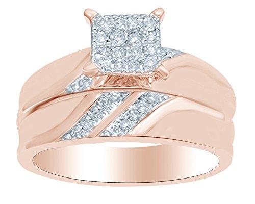 (0.30 Ct) Princess Shape White Natural Diamond Wedding Ring Set In 10k Rose Gold Ring Size-5.5