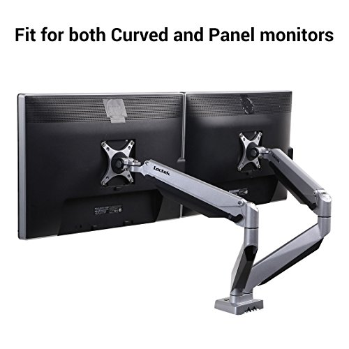 Loctek D7DR Dual Monitor Mount fits for Both Curved and Panel 24-34 inch Monitors Gas Spring Monitor Arm Desk Top Mounts LCD Arm (Weighting 8.8-22 lbs) - Medium Desktop Mount