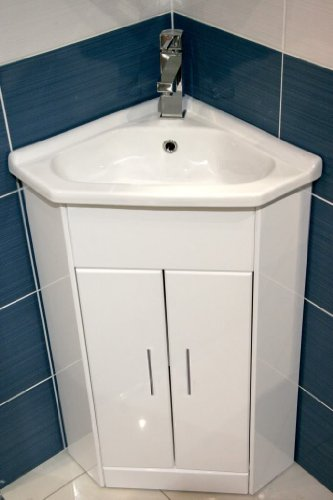 EPlumb Meuble Lavabo DAngle En Cramique Compact Blanc  X