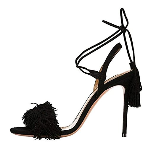 Comfity Heeled Sandals for Women Women's Tassels Sandals Lace Up Slingback Shoes High Heel Dress Sandals 11 M US Black