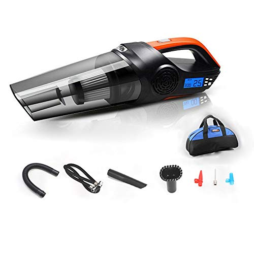 TOMSSL 120W High Power Vacuum / 30 Cylinder Inflation/LED Lighting/Tire Pressure/Wet/Dry/Preset Tire Pressure. Digital Display Car Vacuum Cleaner with Storage Bag Beautiful and Practical