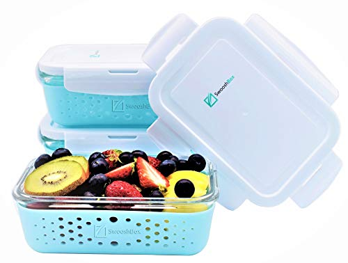SwooshBox Premium Storage Glass Food Container Set with Non-slip Silicone Sleeve - Glass Food Storage Containers with Lids - 3 Piece Lunch Containers