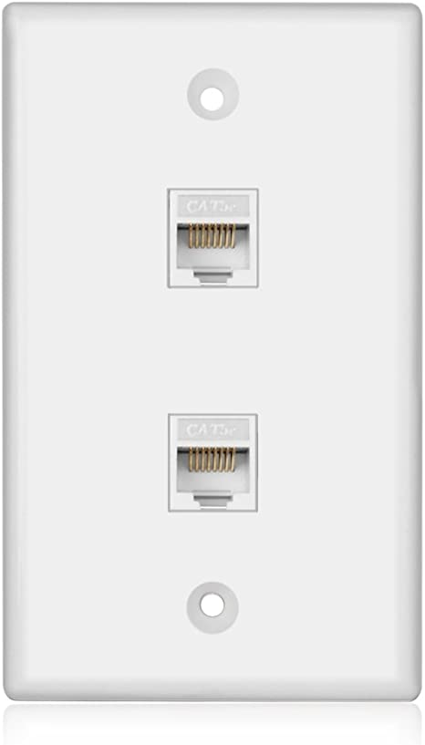 Amazon.com: TNP Ethernet Network Cat5E Wall Plate - Dual 2 RJ45 Keystone  Connector Socket Wiring Plug Jack Decorative Face Cover Outlet Mount Panel  Female to Female RJ45 Keystone: Computers & AccessoriesAmazon.com