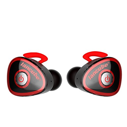 True Wireless Stereo Headphones,Lesoom Mini Invisible Truly Wireless Bluetooth V4.1 Surround Sound Earbuds Earphones Noise Cancelling InEar Headset With Microphone For iPhone Samsung Android IOS (Red)