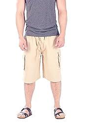 CandyHusky 100% Cotton Men's Lounge Cargo Shorts Elastic Waist With Drawstring (Beige)