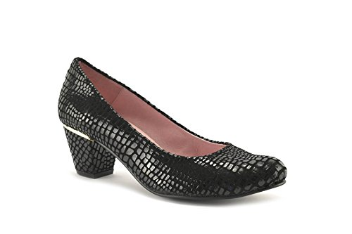 ConBuenPie by Chamby - modelo 725 - Calzado de Piel estilo Casual para Mujer Colores Negro y Rojo Negro