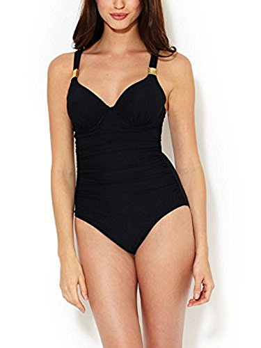 SPANX Riveting Ruched Cup Sized One Piece Swimsuit (1382) 10 (B/C)/Black