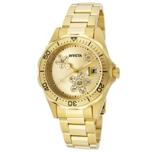 Invicta Womens 12508 Pro Diver Gold Tone Dial 18k Gold Ion-Plated Stainless Steel Watch