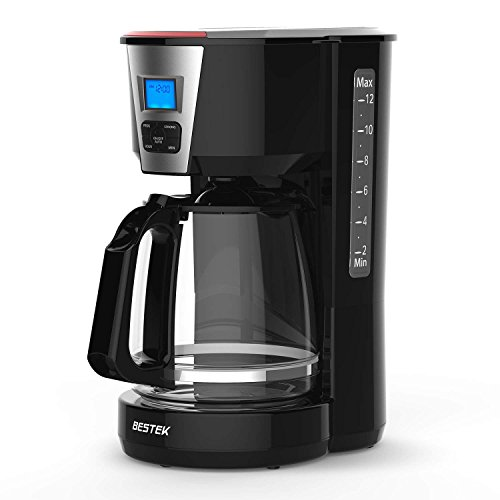BESTEK 12-Cup Coffee Maker - Digital Programmable, Automatic Drip with Carafe