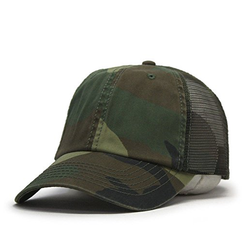 Vintage Year Washed Cotton Low Profile Mesh Adjustable Trucker Baseball Cap (Woodland Camo) ()