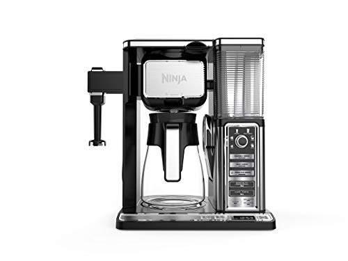 Ninja Coffee Bar Auto-iQ Programmable Coffee Maker with 6 Brew Sizes, 5 Brew Options, Milk Frother, Removable Water Reservoir and Glass Carafe (CF091) (Renewed)