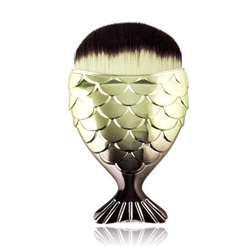 Luxsea Mermaid Brush Professional Powder Mermaid Makeup Brushes Set Maquiagem Foundation Contour Brushes (Foundation Copper Powder)
