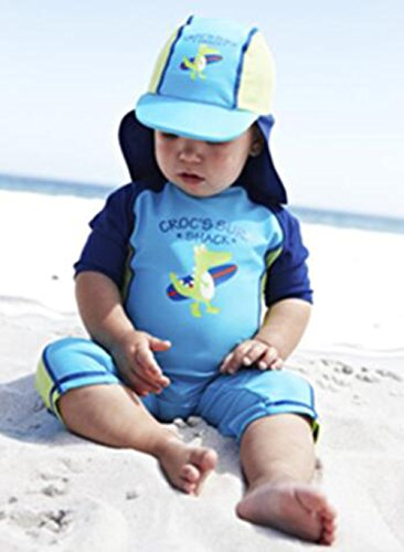 aab214adf2 Kids Baby Boy Summer Long Sleeve One Piece Rash Guard Swimsuit Sun  Protection Swimwear (9