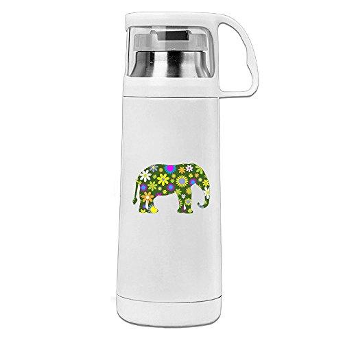 (Karen Garden Funky-Retro Floral Elephant Stainless Steel Vacuum Insulated Water Bottle Leak Proof Handled Mug White,12oz)