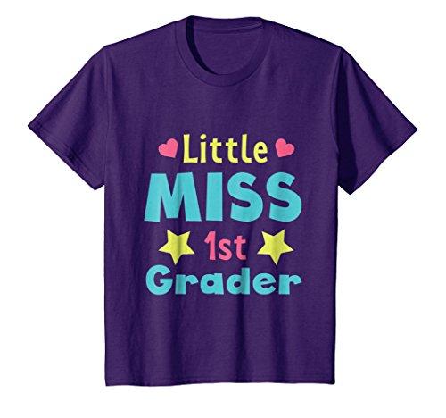 Price comparison product image Kids 1st Grade First Grader Student TShirt Little Miss 1st Grader 12 Purple