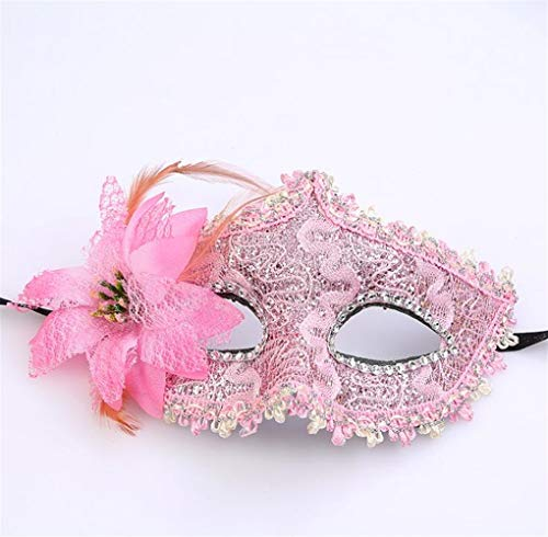 Classic Cute Party Ornament Lace Leather Half Face Mask Halloween Masquerade Party Blindfold(Pink) ()