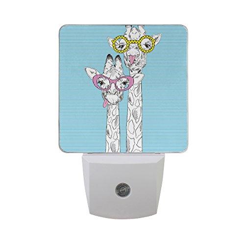 ALAZA Hipster Giraffe Animal Head Stripe LED Night Light Dusk to Dawn Sensor Plug in Night Home Decor Desk Lamp for Adult by ALAZA