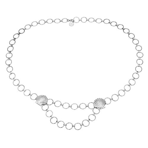 oAtm0eBcl Waist Chain, Double-Layer Alloy Belly Chain, Fashion Women Emboss Disc Shell Circle Charm Belly Waist Chain Body Jewelry Gift - Emboss Disc